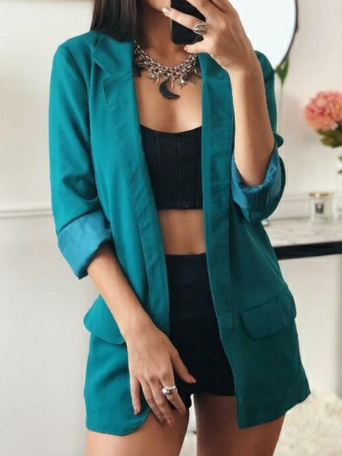 Plus Size Women Long Sleeves Solid Casual Blazers