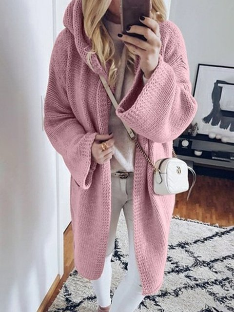 Plus Size Hoodie Knitted Long Sleeves Casual Sweater Coat