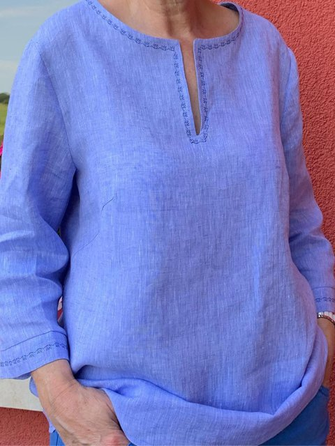 Round Neck Cotton-Blend Shirts & Tops