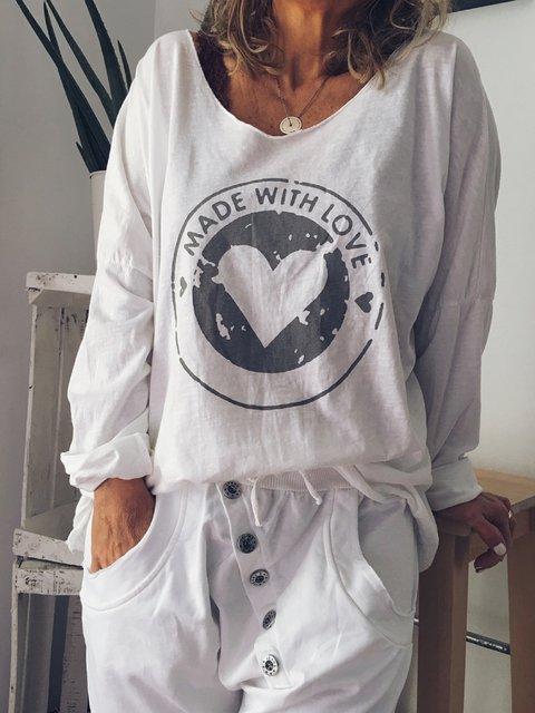 White Printed Long Sleeve Shirts & Tops