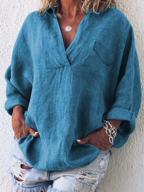 Cotton Linen Shirt Collar Long Sleeve Solid Casual Shirts & Tops