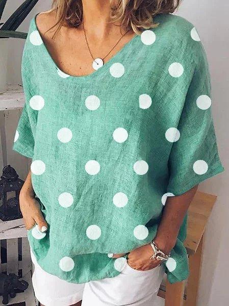 Polka Dot Short Sleeve Plus Size Shirts