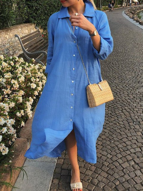 Plus size solid loose dress