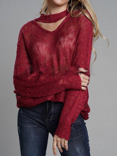 Casual Long Sleeve V Neck Acrylic Shirts & Tops