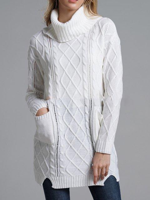 Turtleneck Plain Casual Acrylic Shirts & Tops