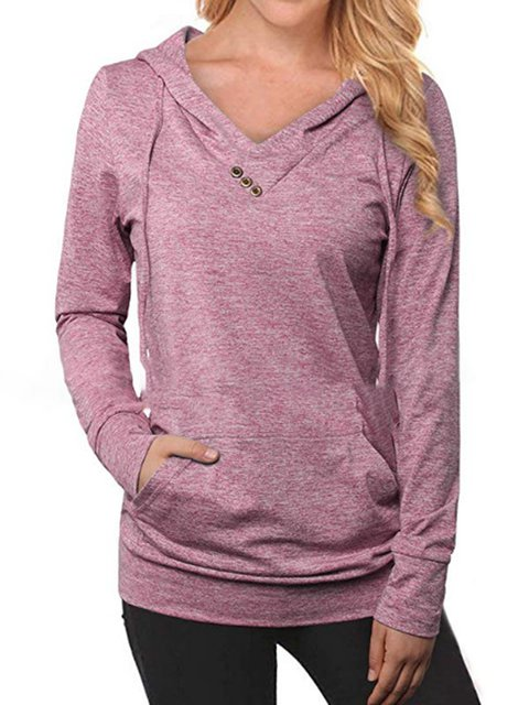 Long Sleeves Pocket Hoodie Casual Comfort T-Shirts