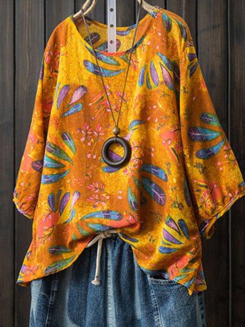 Half Sleeve Holiday Cotton Floral-Print Shirts & Tops