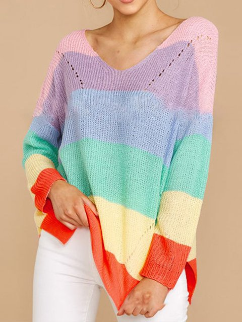 Multicolor Cotton V Neck Sweet Shirts & Tops