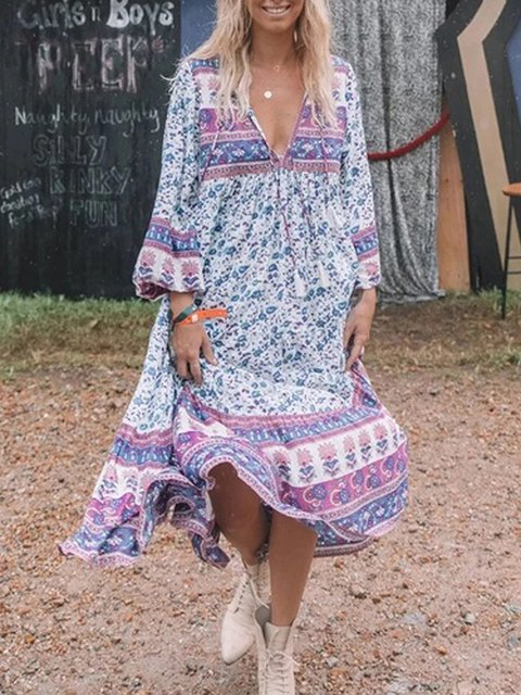 Tribal V Neck Boho Women Dresses Going Out Cotton Printed Dresses