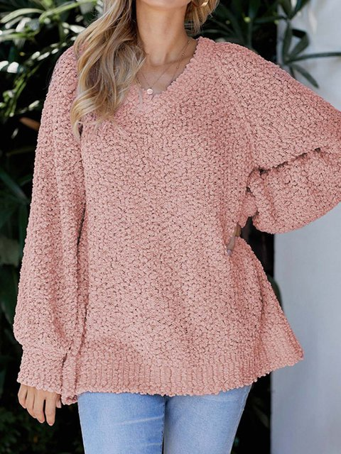 V-neck Solid Shift Long Sleeves Knitted Sweater Tops