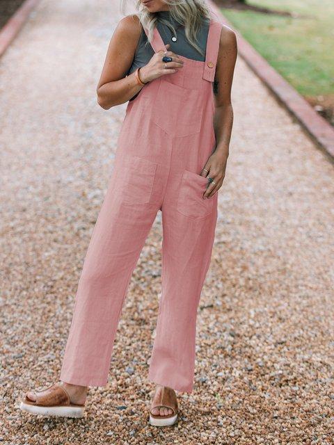 Linen Plain Basic Casual Jumpsuits