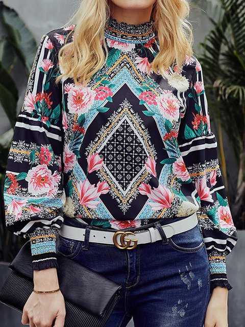 Tribal Turtleneck Balloon Sleeves Printed Blouse Tops