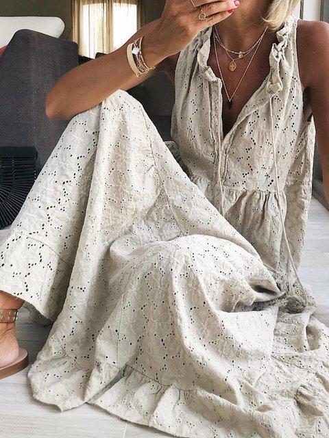 Casual  V Neck Sleeveless Dresses