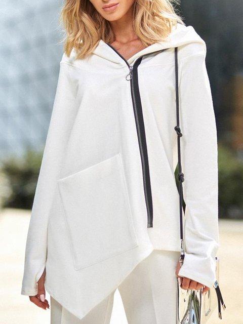 Plus Size Asymmetrical Pocket Zipper Hoodie Sweatshirts/Coats