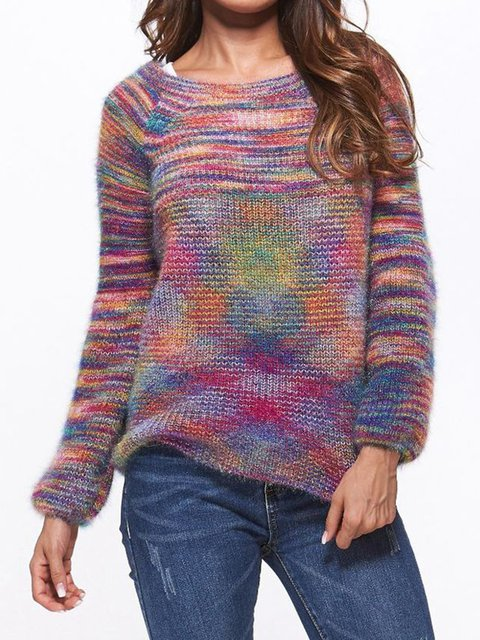 Ombre/tie-Dye Paneled Casual Sweaters