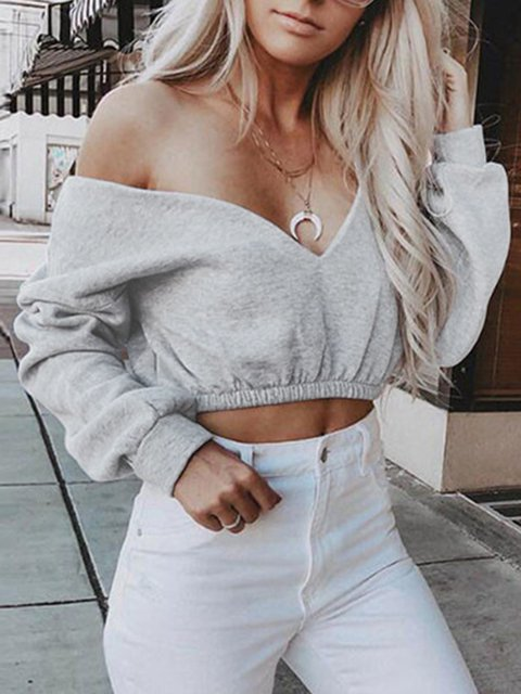 Sexy V Neck Long Sleeve Shirts & Tops