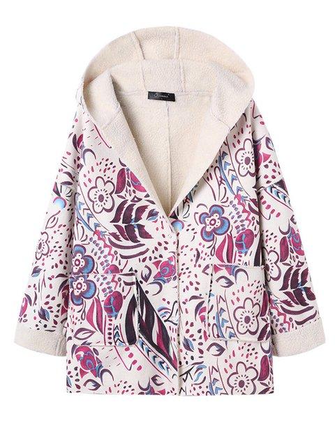 Hoodie Paneled Long Sleeve Plain Outerwear