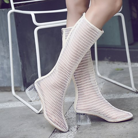 Stylish Mesh Square Toe Chunky Heel Boots