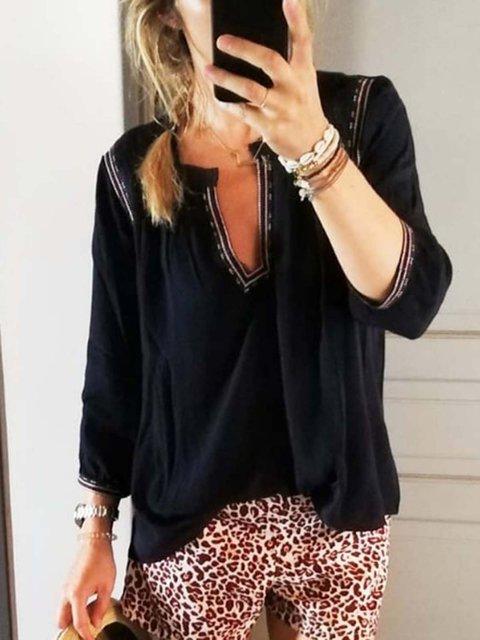 Black Casual V Neck Cotton-Blend Shirts & Tops