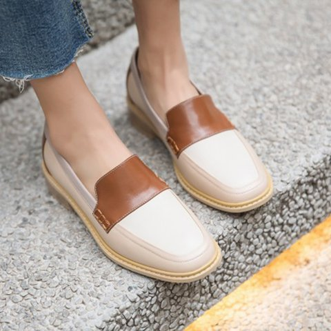 Stylish Genuine Leather Square Toe Slip On Oxford Loafers