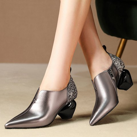 Stylish Genuine Leather Pointed Toe Special Heel Pumps