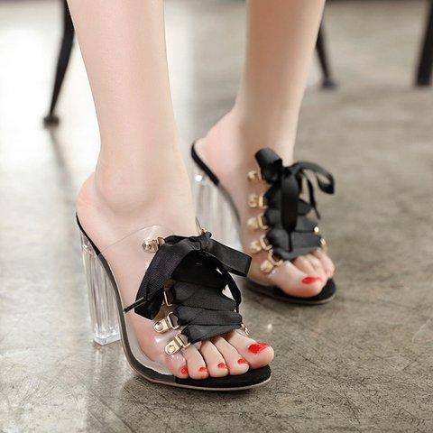 Bowknot PVC Open Toe Transparent Chunky Heeled Sandals