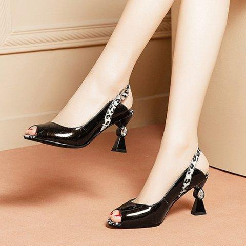 Date Genuine Leather Peep Toe Special Heel Buckle Pumps