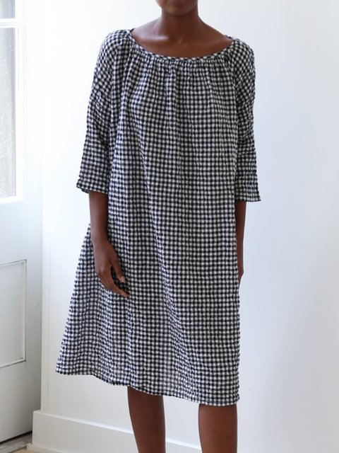 Casual Black 3/4 Sleeve Linen  Dresses