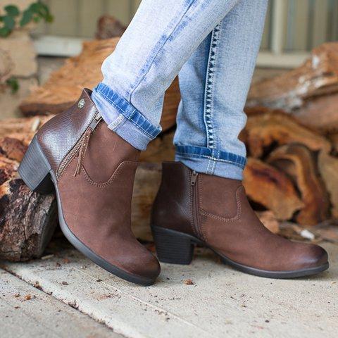 23c4145ad37 Women's Stylish Ankle Boots Block Heel Zipper Vintage Elegant Booties