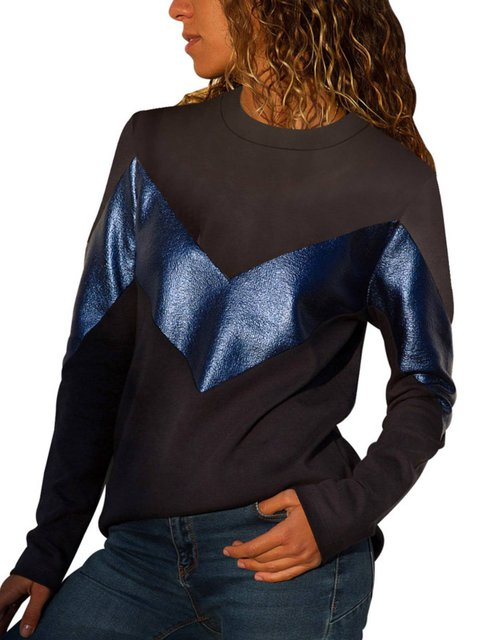 Cotton-Blend Long Sleeve Round Neck Shirts & Tops