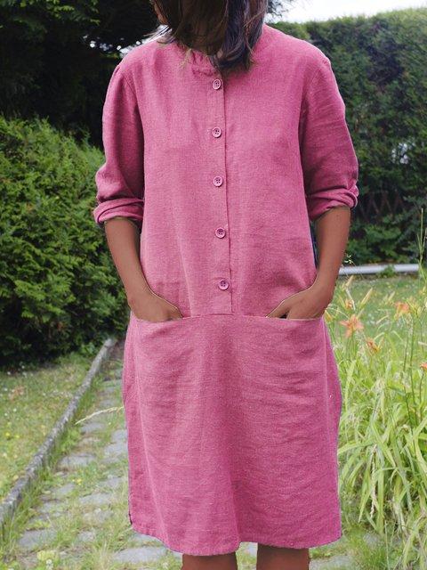 Linen Shirt Collar  Casual Dresses