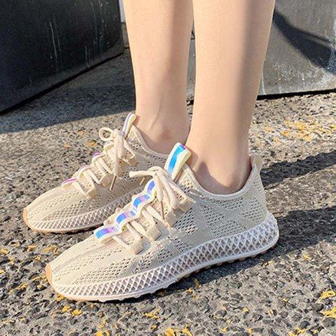 Women Round Toe All Season Fly-Woven Fabric Flat Heel Sneakers