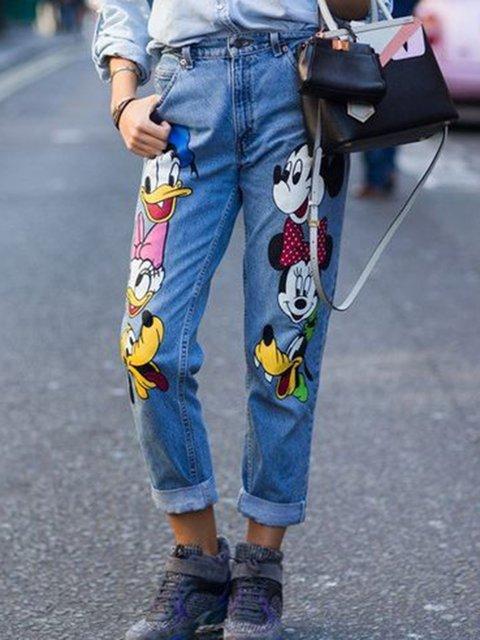 Denim Animal Printed Casual Pants