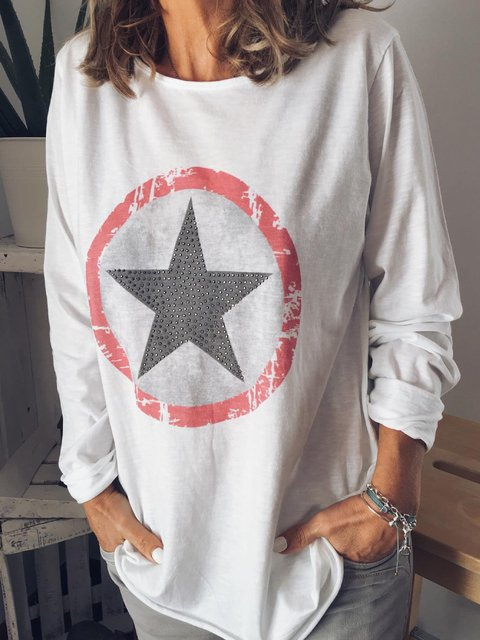 White Cotton-Blend Long Sleeve Holiday Round Neck Shirts & Tops