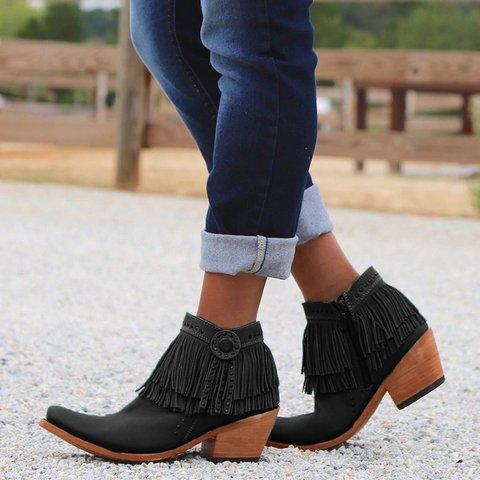 Women Liberty Black Medallion Short Fringe Boot