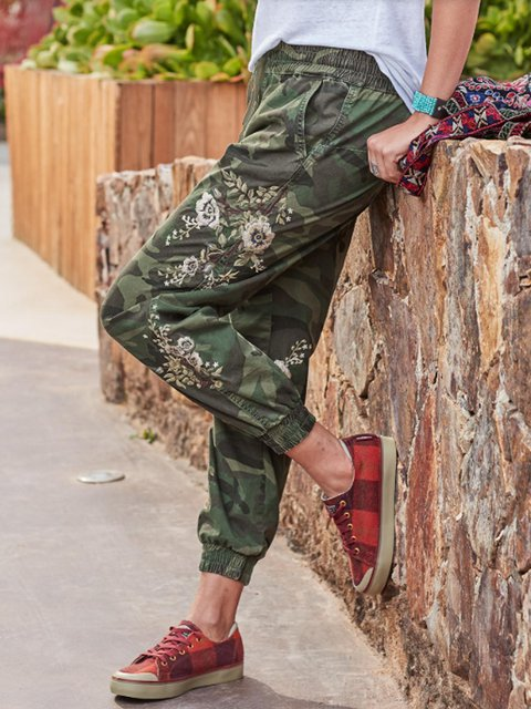 Army Green Casual Color-Block Cotton-Blend Patchwork Pants