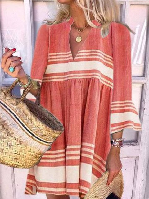 3/4 Sleeve Cotton-Blend V Neck Dresses