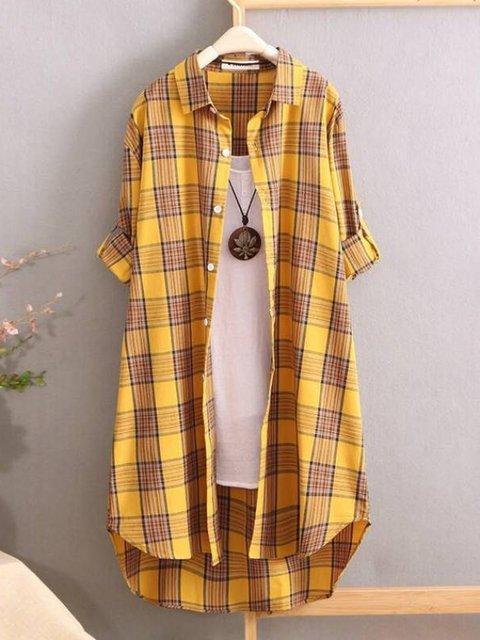 Basic Checkered/plaid Cotton Shirts & Tops
