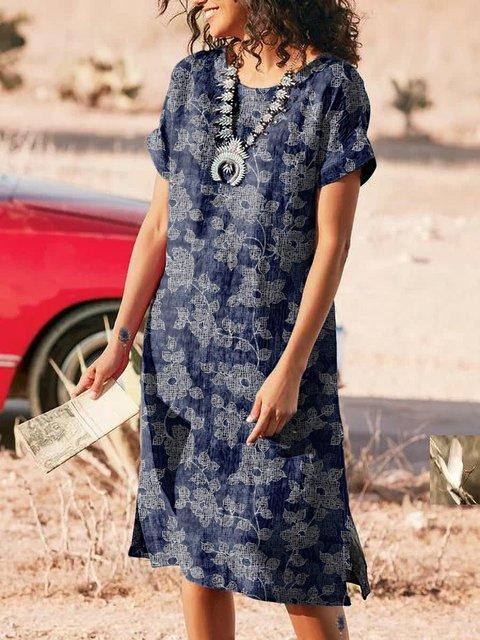 Floral-Print Cotton Short Sleeve Casual Dresses