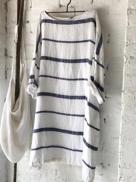 Striped Casual Cotton Dresses