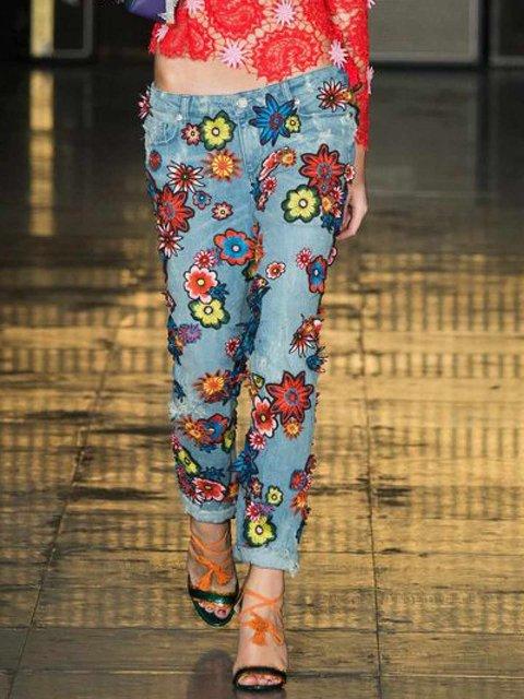 Casual Cotton-Blend Floral Pants