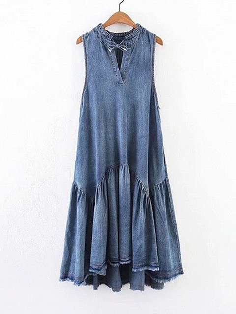 Paneled V Neck Women Dresses Going Out Cotton Dresses