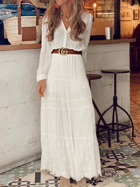 Long Sleeve V Neck Chiffon Dresses