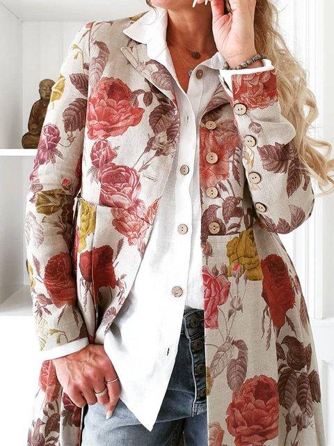 Multicolor V Neck Floral Long Sleeve Outerwear