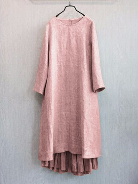 Paneled Gathered Crew Neck Women Dresses Going Out Casual Dresses