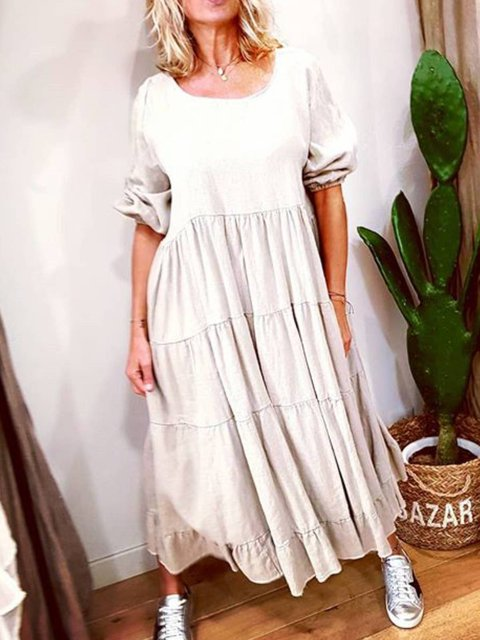 White Plain Long Sleeve Cotton Crew Neck Dresses