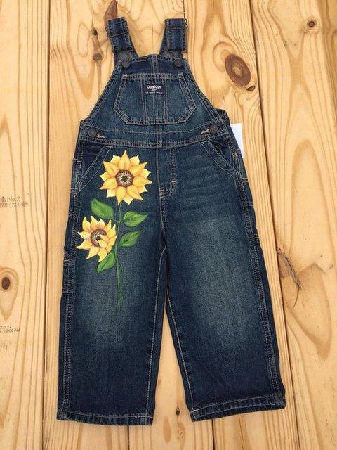 Printed Denim Casual Floral Pants