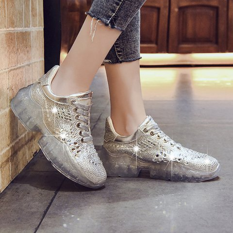Women Casual Round Toe All Season Flat Heel Pu Sneakers