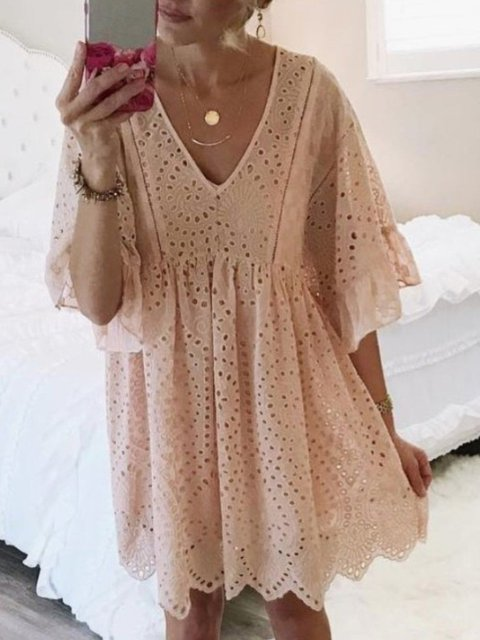 Eyelet V Neck Women Dresses Going Out Paneled Solid Dresses