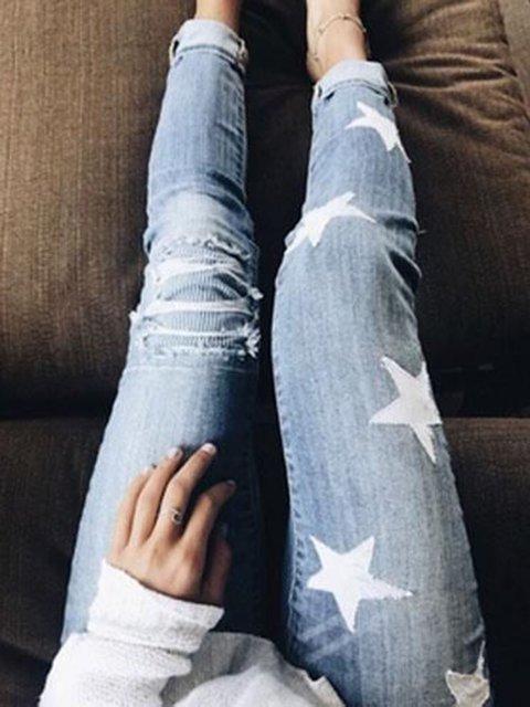 Casual Denim Geometric Printed Pants